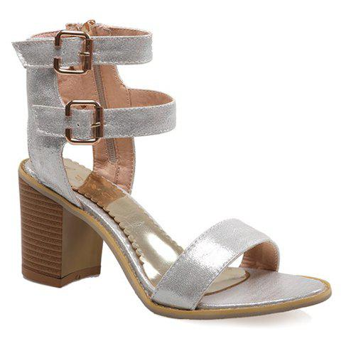 Fashionable Zipper and Double Buckle Design Women's Sandals - SILVER 38