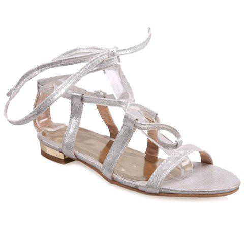 Concise PU Leather and Cross Straps Design Women's Sandals - SILVER 36
