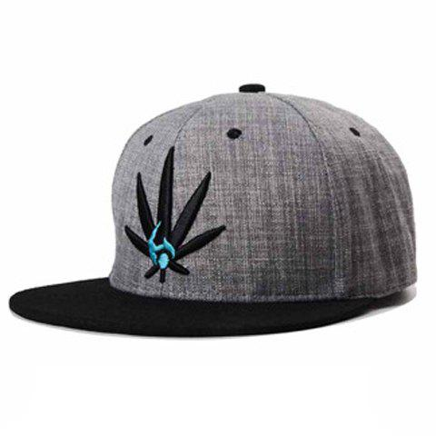 Trendy Maple Leaf Embroidery Color Block Baseball Hat For Men - GRAY
