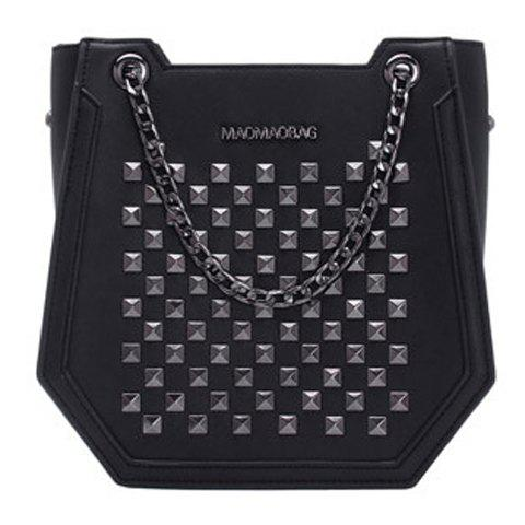 Trendy Rivet and Chains Design Women's Tote Bag - BLACK