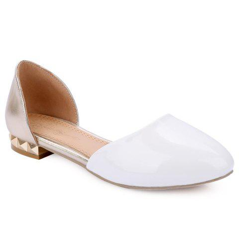 Sweet Colour Block and Patent Leather Design Women's Flat Shoes - WHITE 39