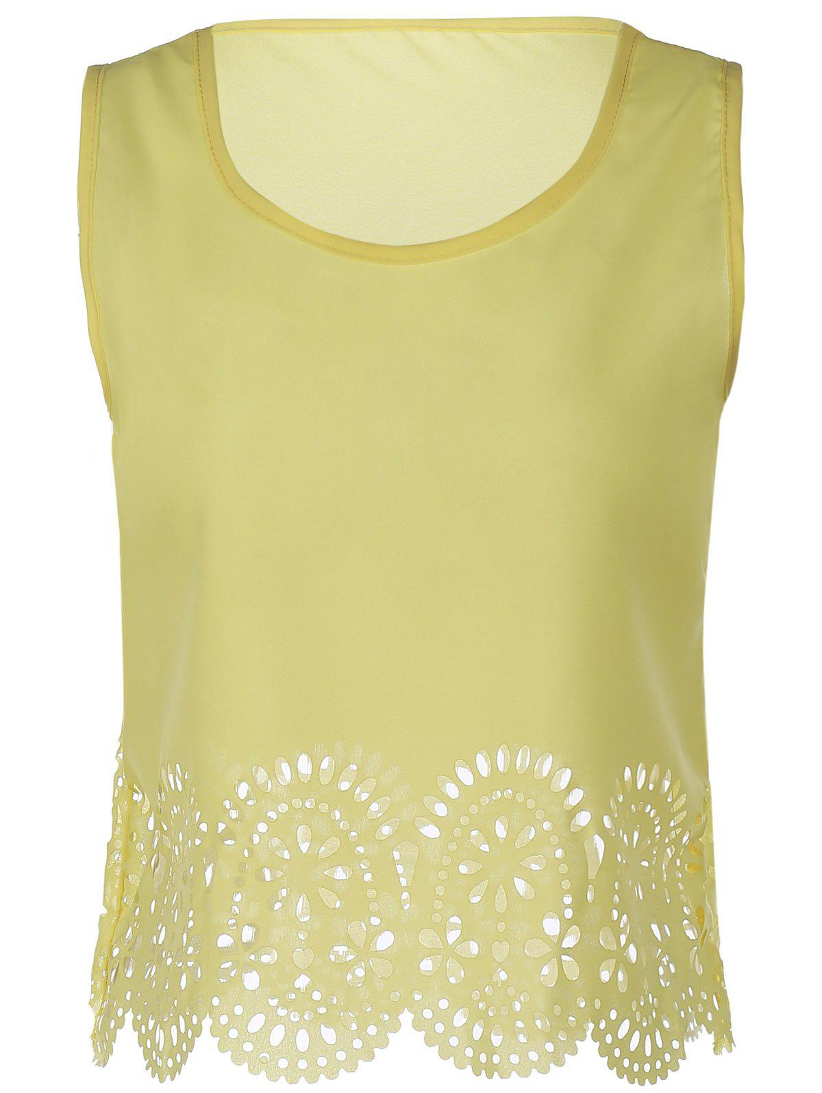Chic Sleeveless Scoop Neck Solid Color Hollow Out Women's Tank Top - YELLOW M