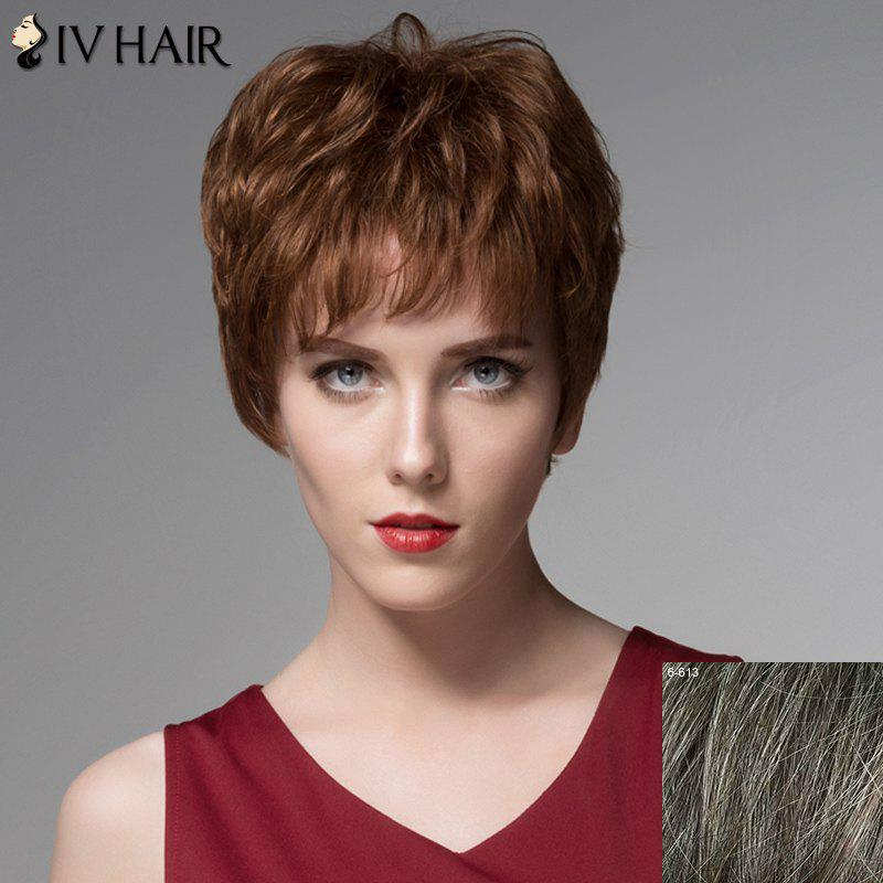 Stylish Short Side Bang Siv Hair Towheaded Wavy Capless Real Human Hair Wig For Women - DARKEST BROWN/GRAY