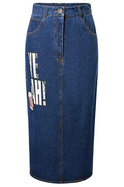 Chic High-Waisted Letter Print Slit Design Women's Denim Skirt - DEEP BLUE L