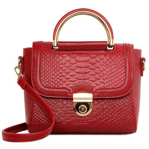 Elegant Crocodile Print and Metal Design Women's Tote Bag - WINE RED