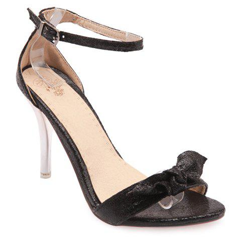 Fashionable Stiletto Heel and Ankle Strap Design Women's Sandals - BLACK 39