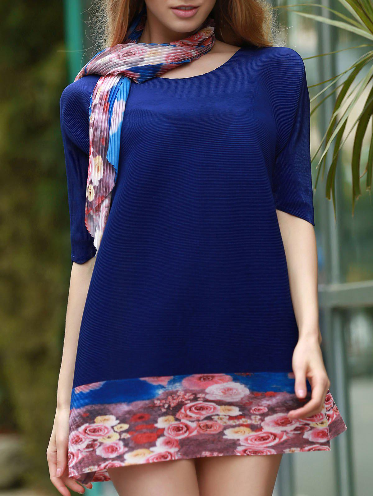 Elegant Scoop Neck 1/2 Sleeve Floral Spliced Dress For Women - DEEP BLUE ONE SIZE(FIT SIZE XS TO M)