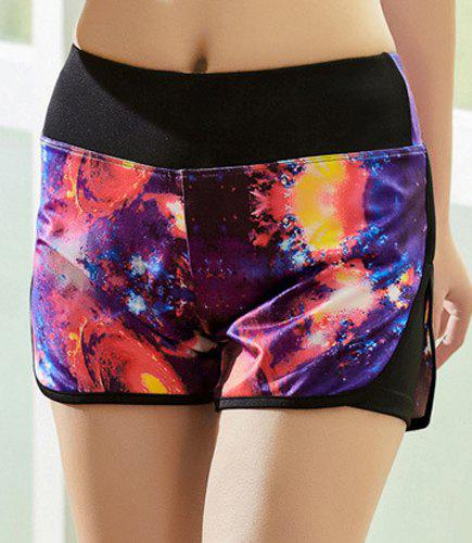 Active Style Elastic Waist Spliced Galaxy Women's Yoga Shorts - COLORMIX XL