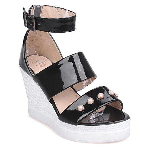 Trendy Patent Leather and Faux Pearls Design Women's Sandals - BLACK 35