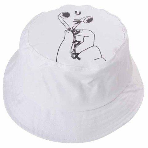 Stylish Earphone and Hand Pattern Flat Top Men's White Bucket Hat - WHITE