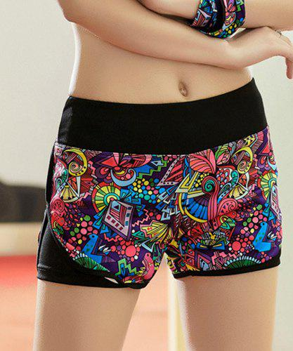 Active Style Elastic Waist Colorful Printed Women's Yoga Shorts - COLORMIX M