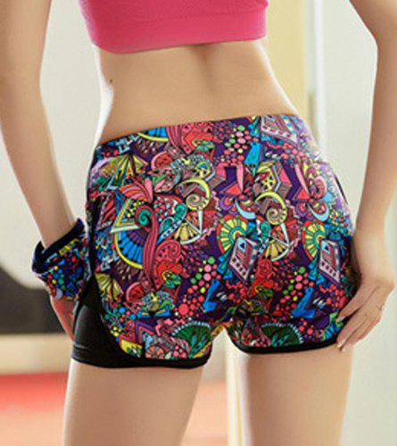 Active Style Elastic Waist Colorful Printed Women's Yoga Shorts - COLORMIX S