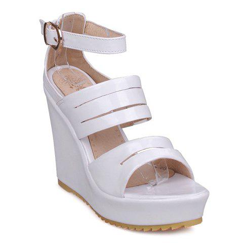 Stylish Ankle Strap and Platform Design Women's Sandals - WHITE 35