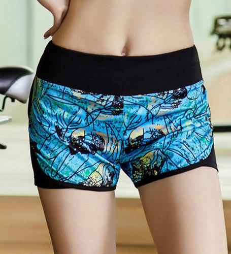 Active Style Elastic Waist Leaf Print Women's Yoga Shorts - BLUE M
