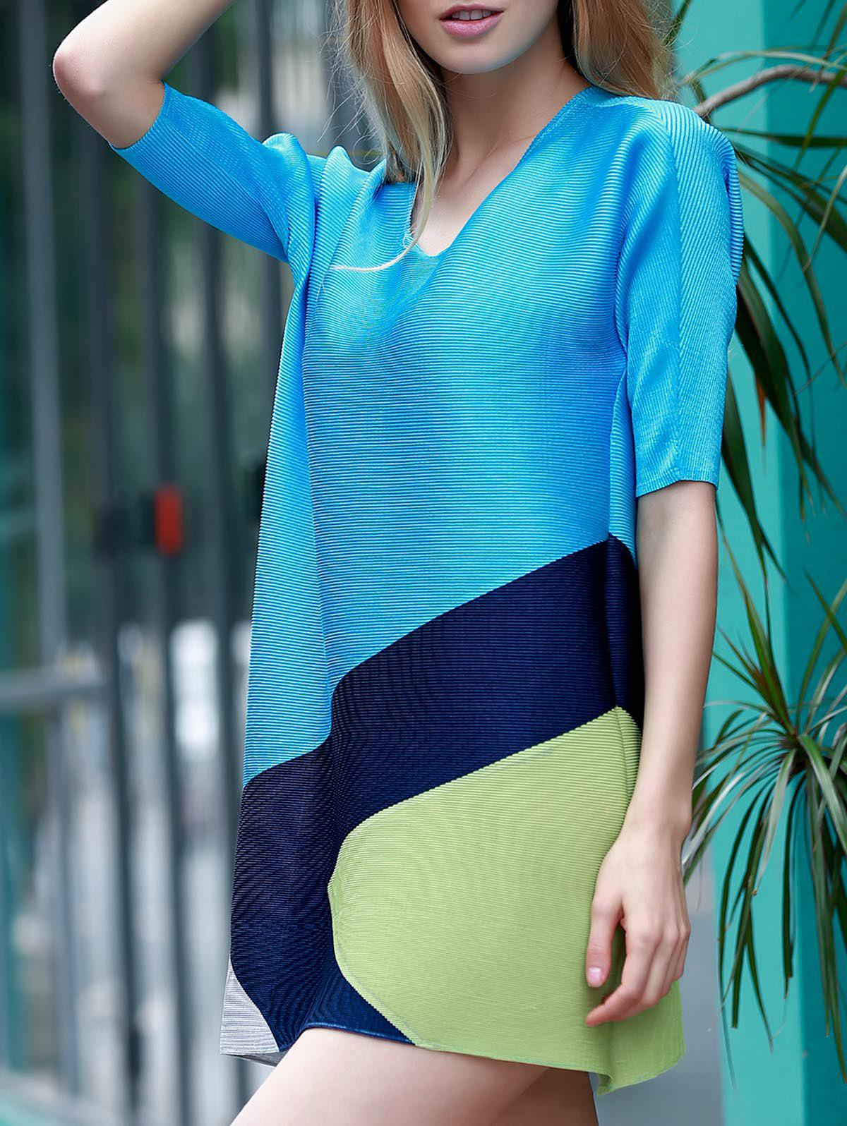 Elegant Color Block 1/2 Sleeve Dress For Women - LAKE BLUE ONE SIZE(FIT SIZE XS TO M)