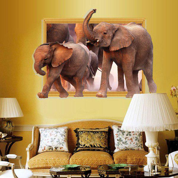 Fashion Removable Waterproof Elephants Pattern 3D Wall Stickers For Living Room Bedroom Decoration - BROWN