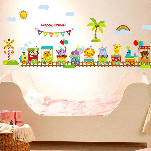 Fashion Removable Cartoon Animals Train Pattern Wall Stickers For Children's Bedroom