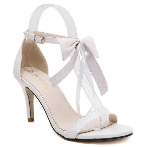 Trendy Bow and Stiletto Heel Design Women's Sandals - WHITE 38