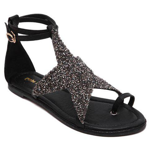 Fashionable Sequined Cloth and Star Design Women's Sandals - BLACK 36