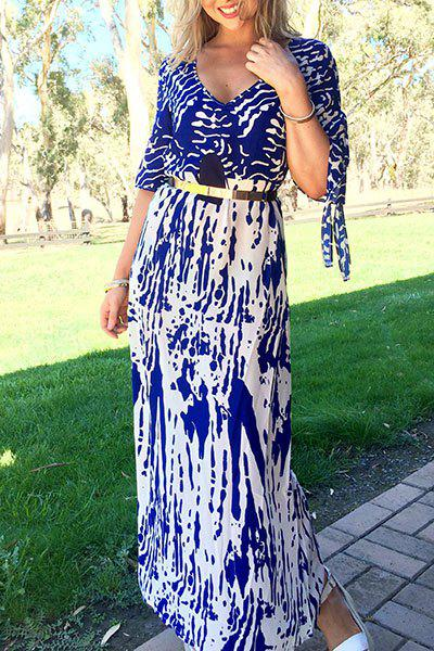 Stylish Split Sleeve Women's Plunging Neck Printed Maxi Dress - BLUE L