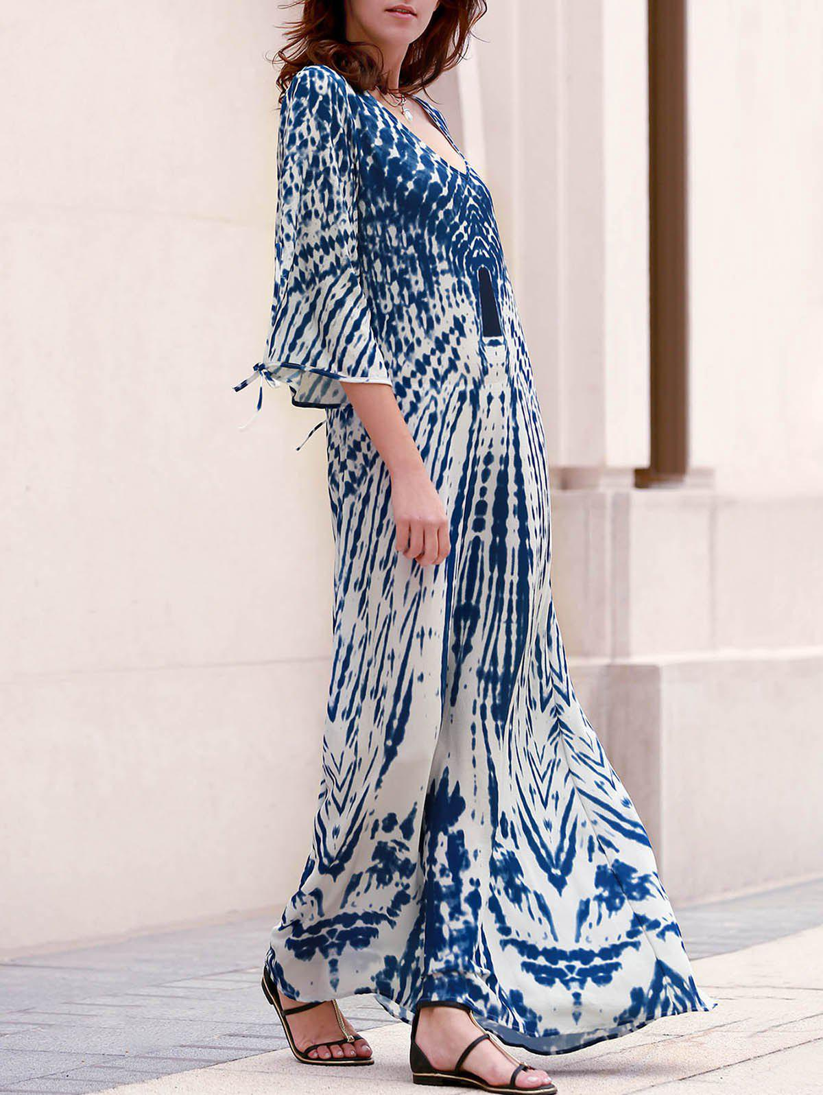 Stylish Women's Plunging Neck Split Sleeve Printed Maxi Dress - BLUE S