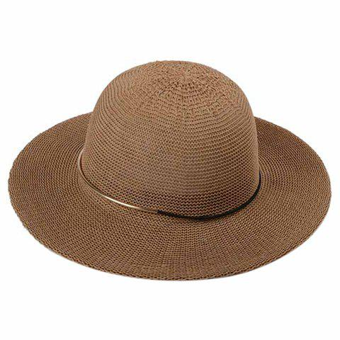 Trendy Alloy Decorated Solid Color Dome Beach Straw Hat For Women - KHAKI