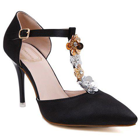 Stylish Sequins and T-Strap Design Women's Pumps - BLACK 37