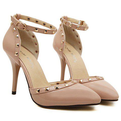 Fashionable Rivets and Two-Piece Design Women's Pumps - APRICOT 38