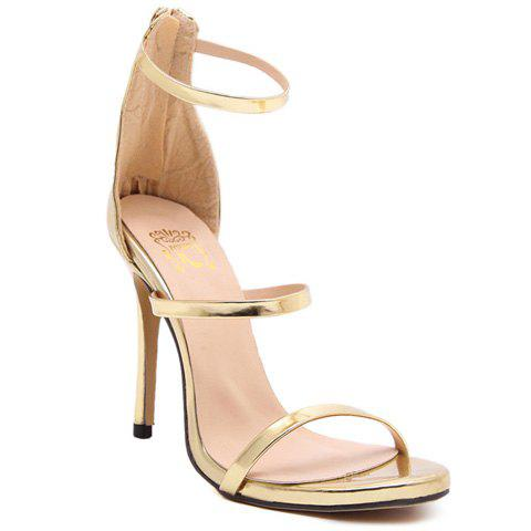 Stylish Strappy and Zipper Design Women's Sandals - GOLDEN 37
