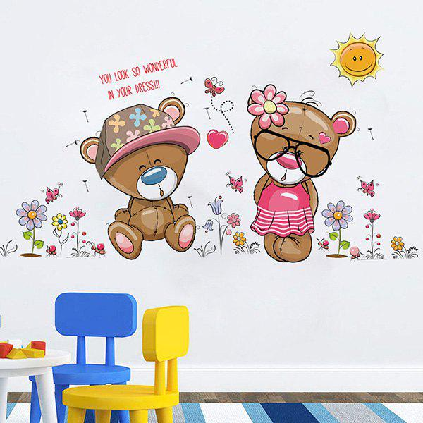 Fashion Removable Bear Cub Pattern Wall Stickers For Living Room Bedroom Decoration - COLORMIX