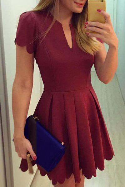 Retro Style V Neck Short Sleeves Pleated Women's Dress - WINE RED XL