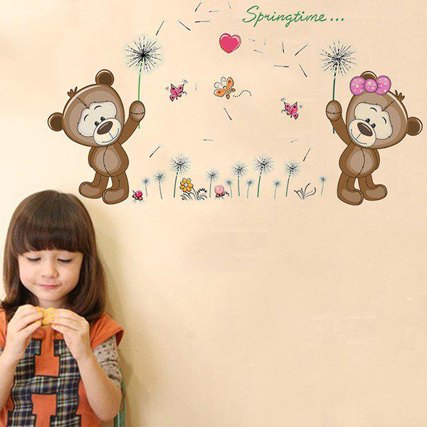 Fashion Removable Dandelion Bear Cub Pattern Wall Stickers For Living Room Bedroom Decoration - COLORMIX