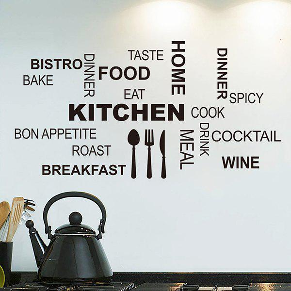 Fashion Removable Letter Pattern Wall Stickers For Kitchen Decoration - BLACK