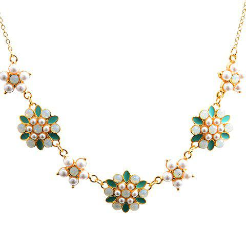 Faux Gemstone Pearl Flowers Sweater Chain - TURQUOISE