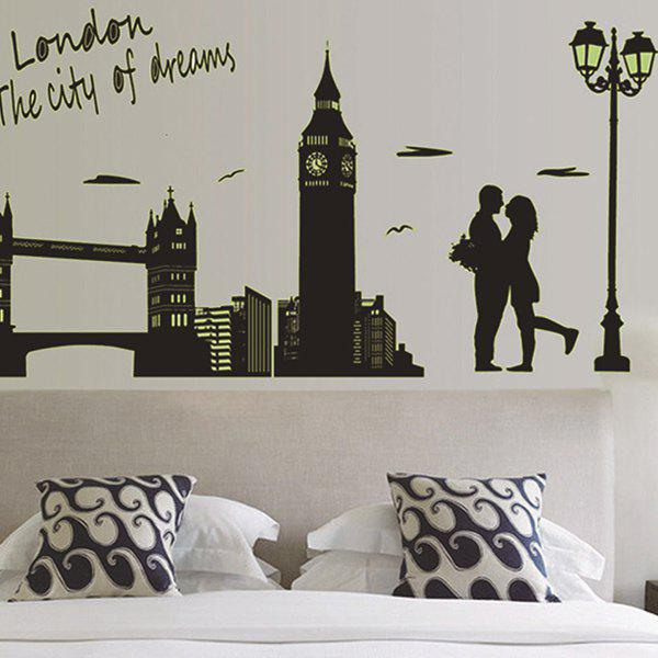 Fashion Bedroom Decoration City Landscape Fluorescence Glow Wall Stickers - BLACK