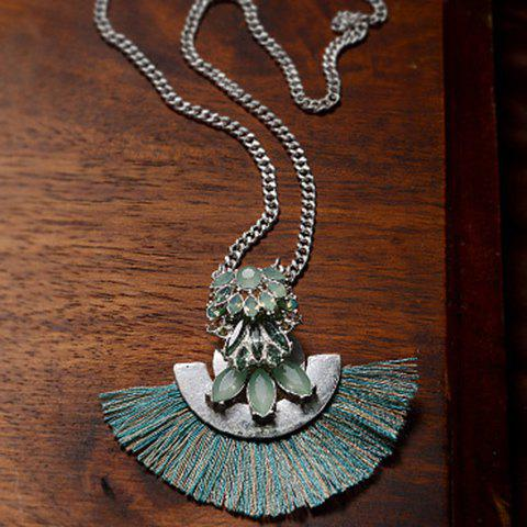 Faux Gemstone Fan Tassel Sweater Chain - GREEN