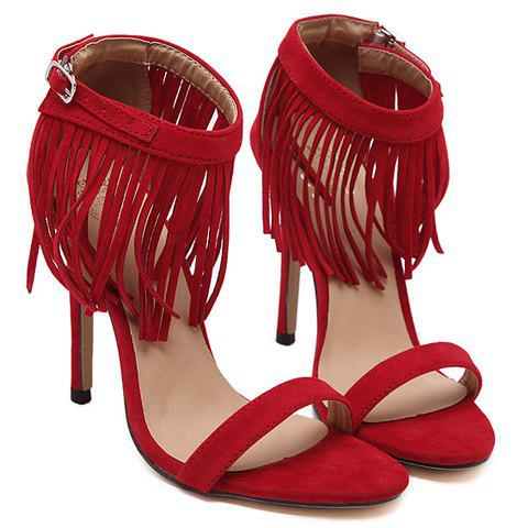 Fashionable Suede and Fringe Design Women's Sandals - RED 35