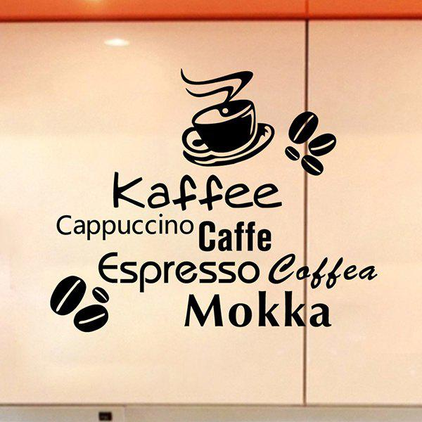 Fashion Removable Coffee Letter Pattern Wall Stickers For Kitchen Restaurant Decoration