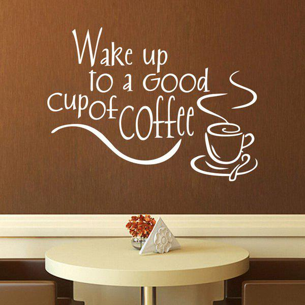 Fashion Coffee Letter Pattern Wall Stickers For Kitchen Restaurant Decoration chic removable coffee letter pattern wall stickers for kitchen restaurant decoration