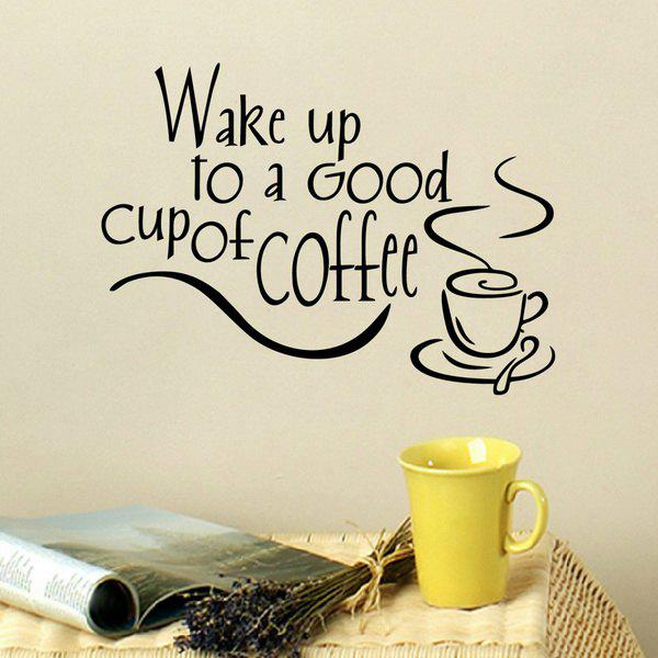 Fashion Coffee Letter Pattern Wall Stickers For Kitchen Restaurant  Decoration   BLACK ...