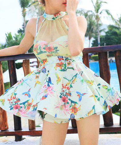 Cute Stand Collar See-Through Parrots Pattern Women's Tankini