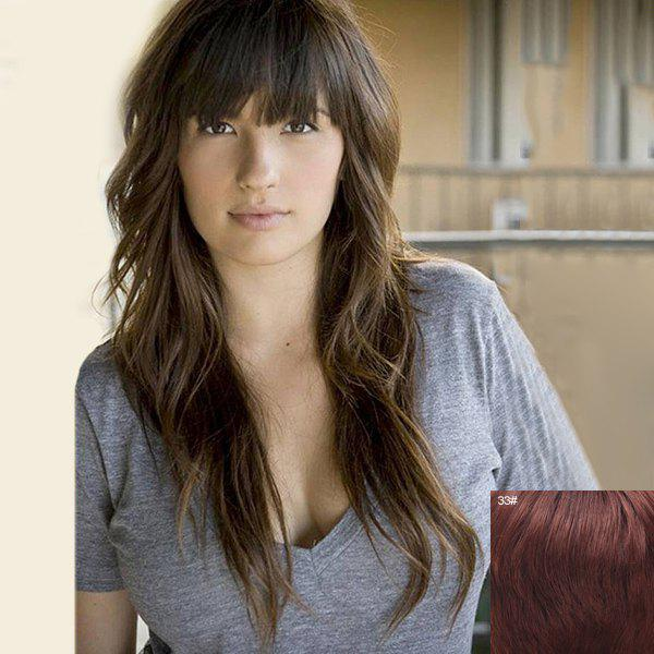 Charming Long Capless Shaggy Wave Full Bang  Human Hair Wig - DARK AUBURN BROWN