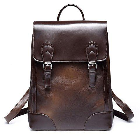 Fashionable Double Buckle and Solid Color Design Men's Backpack - COFFEE