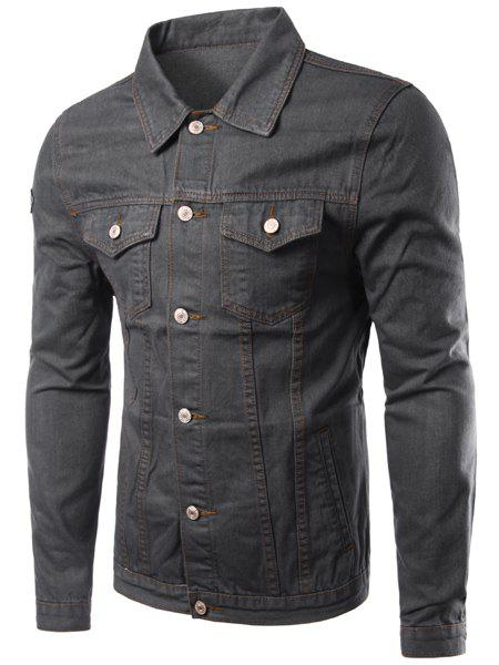 Slim Fit Solid Color Single Breasted Denim Jacket For Men - DEEP GRAY M