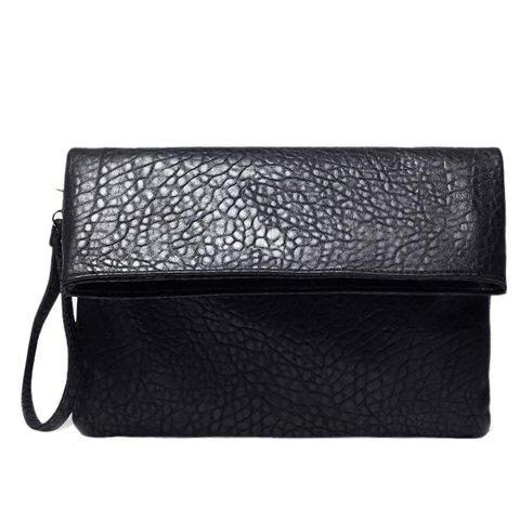 Stylish Black Color and Embossing Design Men's Clutch Bag - BLACK