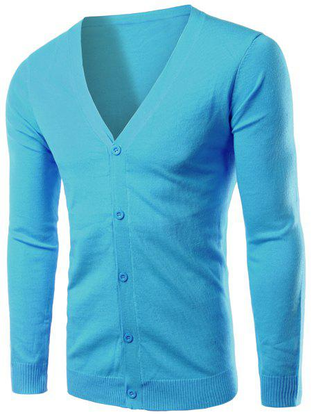 Casual V-Neck Single Breasted Solid Color Cardigan For Men - LAKE BLUE L