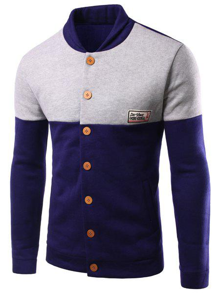 Slim Fit Color Block Single Breasted Jacket For Men - CADETBLUE 2XL