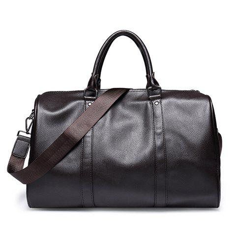 Casual Metal and Solid Colour Design Men's Messenger Bag - COFFEE