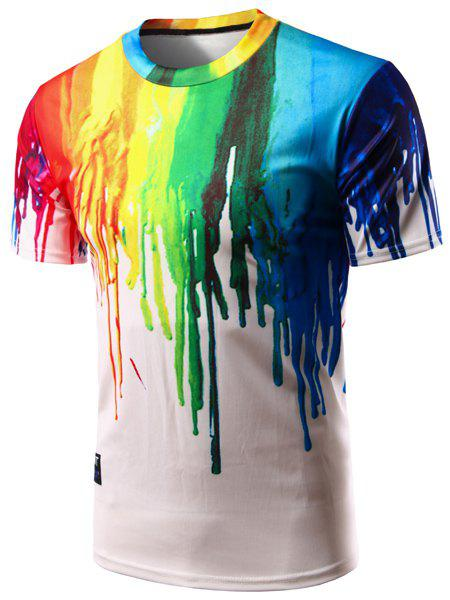 Casual Pullover Colorful Painting T-Shirt For Men - COLORFUL S