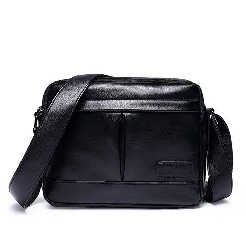 Leisure PU Leather and Black Color Design Men's Messenger Bag - BLACK